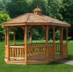 Love this rustic style gazebo with its large fireplace for Rustic gazebo kits