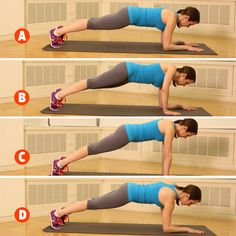 Win the battle of the bulge with up-up-down-downs, a modified plank from our total-body training workout: http://www.womenshealthmag.com/fitness/military-workout?cm_mmc=Pinterest-_-womenshealth-_-content-fitness-_-onedumbbellworkout