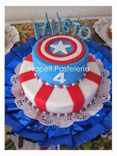 Torta doble Capitán América. / Captain America Cake.