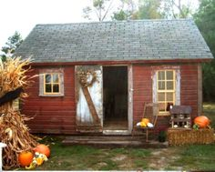 A Red Shed and Fall Decor.