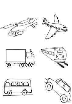 desenhos para pintar sobre os meios de transportes