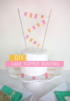 DIY cake topper bunting and cake plate from washi tape