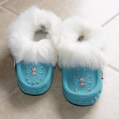 Ladies Turquoise Moccasins with Rabbit Fur Trim &  Fleece Lining - 697