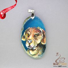 HAND PAINTED DACHSHUND PENDANT FOR NECKLACE GEMSTONE WITH SILVER BAIL ZL807780 #ZL #Pendant
