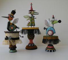 Crazy Critters by Julie Haymaker Thompson Found Object Art, Found Art, Creation Art, Art Sculpture, Metal Sculptures, Unusual Art, Paperclay, Assemblage Art, Recycled Art