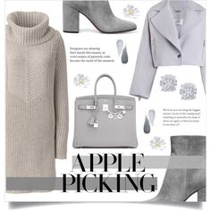 Warm Grey Outfit by ifip on Polyvore featuring Mode, Lands' End, Zimmermann, Hermès, Effy Jewelry, Clé de Peau Beauté, applepicking and sweaterdresses