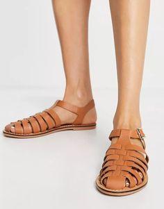 ASOS DESIGN Marina leather fisherman flat shoes in tan | ASOS Asos, Tostadas, Boot Shop, Gladiator Sandals, Real Leather, Ankle Strap, Shoe Boots, Safari, Flats