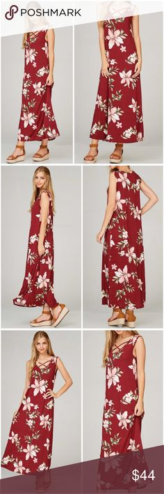 Burgundy Sleeveless Floral Maxi Dress Burgundy Criss Cross Sleeveless Floral Maxi Dress featuring a V neckline.   96% polyester; 4% spandex.   Fits true to size B Chic Boutique Dresses Maxi