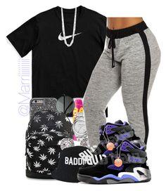 """""""And Pick #3"""" by trill-forlife ❤ liked on Polyvore featuring NIKE, Maybelline, HUF, MICHAEL Michael Kors, OroClone, HLZBLZ and BERRICLE"""