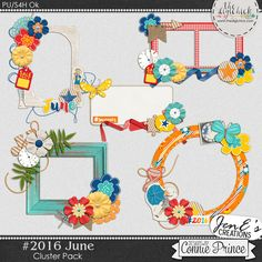 #2016 June - Cluster Pack by JenE to coordinate with #2016 June by Connie Prince. Includes 5 cluster elements, saved in PNG format. Shadows ARE included. Scrap for hire / others ok.