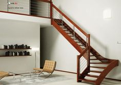 Inspiring Simple Decorating Staircase Design Ideas With Varnished Wooden Tread And Stringer Without Riser Also Stainless Steel Pipe Balustrade With Wire Rope Along Varnished Wooden Handrail Plus Newel Post With Wood Staircase Design Also External Stairs, Attractive Ideas Designing Home Staircases: Interior