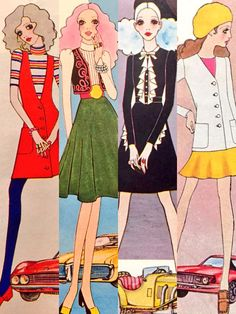 Fashion illustration by Masahiko Satō, '68/'70 Japan.
