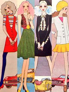 Fashion illustration by Masahiko Satō, '68/'70 Japan.
