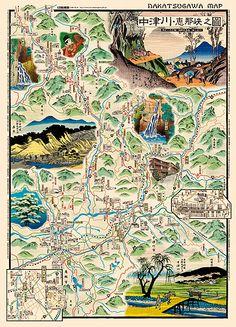 Japanese paper pictorial map ~NAKATSUGAWA by Fumiaki Muto