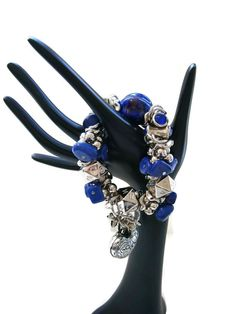Chunky Royal Blue Stone Silver Tone Heart Ladies Stretch Charm Bracelet New