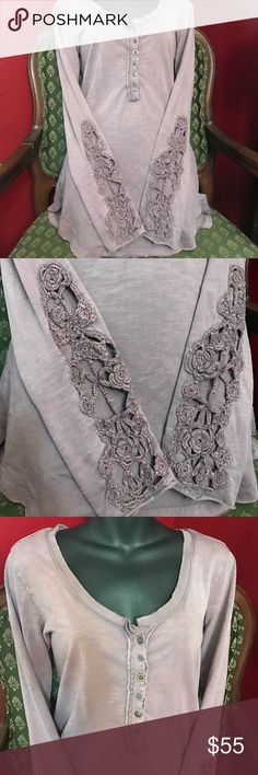 Elena Gilbert Free People crochet cuff Henley L Free people crochet cuff Henley as seen on Elena Gilbert in the vampire diaries. New without tag. This is a long guy purple color, elenas is slightly darker Free People Tops