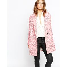 French Connection Tiger Wool Coat (31525 DZD) ❤ liked on Polyvore featuring outerwear, coats, multi, white woolen coat, french connection, oversized coat, pink coat and oversized wool coat