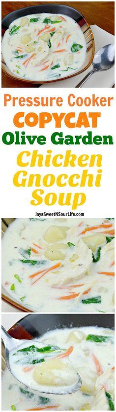 Pressure Cooker Copycat Olive Garden Chicken Gnocchi Soup - Jays Sweet N Sour Life
