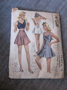 McCall's 3640, bathing suit pattern from 1940 (gift from Peter!! Super fabulous, right??).