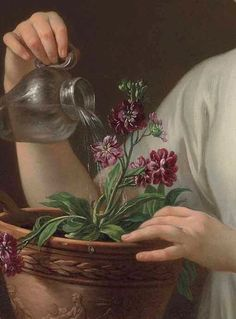 A young woman watering a pot of flowers, La jeune athénienne by Joseph Marie Vien, 1762 Classic Paintings, Old Paintings, Renaissance Paintings, Renaissance Art, Des Fleurs Pour Algernon, Art Hoe, Victorian Art, Look Vintage, Classical Art