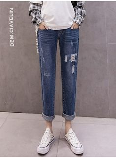 The cowboy autumn fashion ripped trousers high waist pocket rags jeans is so casual and loose you will like it. #maternityskirt #maternitybuttom #maternityskirtoutfits #skirt #maternitybottom #maternitybottomwear #maternitypants #maternitypantsforwork #maternitypantsextender #maternitypantsplussize