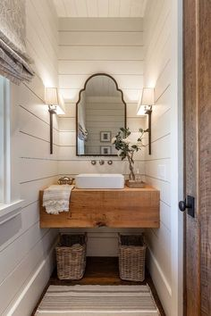 Farmhouse bathroom with shiplap walls, floating wood slab vanity and Roman shade… Farmhouse bathroom with shiplap walls, floating wood slab vanity and Roman shades. Wright Design. http://www.coolhomedecordesigns.us/2017/05/26/farmhouse-bathroom-with-shiplap-walls-floating-wood-slab-vanity-and-roman-shade-2/