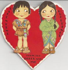 1084 30s Indian Children Paper Dolls Vintage Die Cut Valentine Card