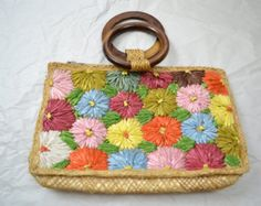 Early to mid 60s grass-cloth flower straw purse