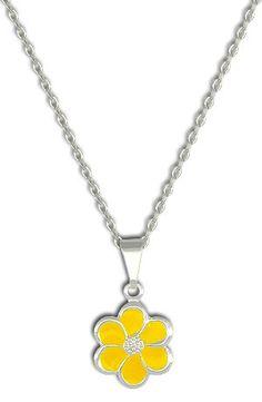 Gargantilha folheada a prata e pingente em forma de flor Código: G0751 P