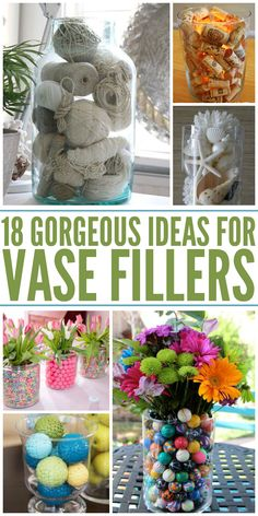 Gorgeous Vase Filler Ideas These vase fillers are AMAZING! Something for every style or event. - One Crazy HouseThese vase fillers are AMAZING! Something for every style or event. - One Crazy House Large Glass Vase, Clear Glass Vases, Cut Glass, Vase Centerpieces, Vases Decor, Decorating With Vases, Decorating Ideas, Vase Decorations, Jar Fillers