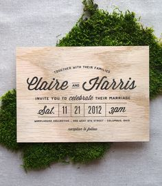 Stacked Type Wooden Wedding Invitation.