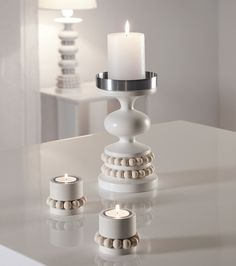 Keisarinna-kynttilänjalka, valkoinen - Aarikka - Hobby Hall - Tervetuloa! Candels, Candle Lanterns, Nordic Design, Living Room Inspiration, Home Interior, Lampshades, Chandelier, Candlesticks, Floor Lamp