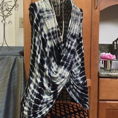 NWOT Tie Dyed blouse cross over Cowl neckline. Navy Blue and tan.❌Trades BOGO 1/2 off on tops. Tops Blouses