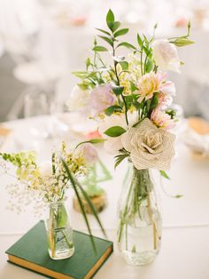 This is what I was thinking (in a very general way) of the combo of paper and real flowers.  I think is would be too tall for table centerpieces