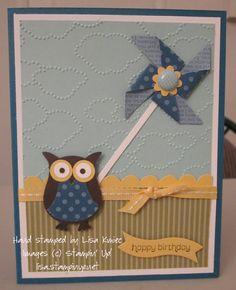 Stampin' Up!  Lisa's Stampin' Spot: Birthday Pinwheel  Wishes Your Way, Pinwheel Sizzlit, Owl Punch
