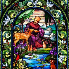 Stained glass depicting St Francis of Assisi Stained Glass Church, Stained Glass Art, Stained Glass Windows, Mosaic Glass, Francis Of Assisi, St Francis, Catholic Art, Religious Art, Patron Saint Of Animals