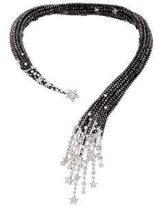 """Chanel """"Nuit de Diamants"""" necklace in 18-karat white gold set with 319 brilliant-cut diamonds for a total weight of 11.9 carats 7 round-cut diamonds for a total weight of 2.9 carats and faceted black-diamond beads for a total weight of 453.3 carats."""