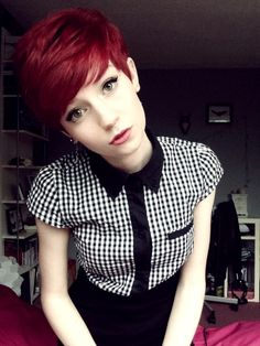 i have had red hair like this before, and i have the pixie cut right now and i love this! Pixie Hairstyles, Pretty Hairstyles, Style Hairstyle, Short Hair Cuts, Short Hair Styles, Rockabilly Hair, Love Hair, Hair Dos, Dyed Hair