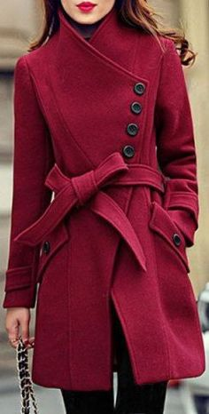 Elegant Stand Collar Candy Red Color Belt Design Long Sleeve Winter Coat Fashion For Women Stylish Winter Coats, Winter Coats Women, Coats For Women, Long Winter Coats, Fashion Mode, Womens Fashion, Fashion Trends, Fashion Stores, Fashion Shoot