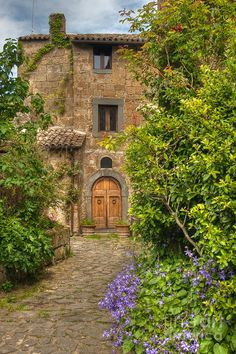 This is a lane in the village of Civita di Bagnoregio in Umbria, Italy