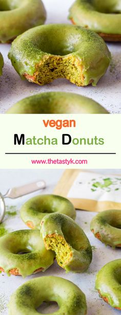 These Matcha Donuts are the perfect combination between fluffy and sweet with a wonderfully energizing boost to them! Ready in 20 minutes, they're the perfect anytime quick! Vegan Donut Recipe, Vegan Doughnuts, Donut Recipes, Donuts Donuts, Vegan Baking Recipes, Vegan Dessert Recipes, Vegan Breakfast Recipes, Matcha, Sin Gluten