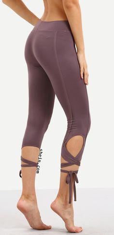 Purple Hollow Tie Skinny Leggings. $9.9 at shein.com.