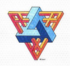 possible - Art Decora La Maison Op Art, Art Isométrique, Isometric Paper, Isometric Drawing, Escher Art, Mc Escher, Impossible Shapes, Art Tumblr, Illusion Art