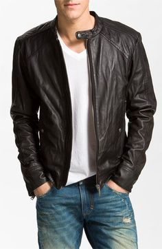 DIESEL® 'Leide' Extra Trim Fit Crinkled Leather Jacket | Nordstrom