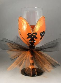 Halloween witch wine glass with tulle skirt by AutumnFreckleDesigns on Etsy