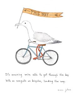 this just made me smile - sometimes maybe i do need a seagull on a bicycle - that might make more sense than some of the crazy things that keep happening . . .