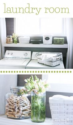 laundry room - that cute shelf is hinged so you can reach the controls behind it!