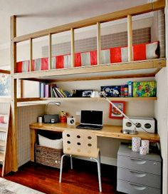 Country kitchen decor loft bed with desk valentines day ideas small 947 best ideias para a Bunk Bed With Desk, Bunk Beds With Stairs, Loft Beds, Desk Bed, Kids Bedroom, Bedroom Decor, Bedroom Ideas, Bunk Bed Plans, Loft Spaces