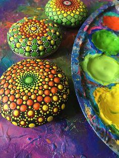 Mandala rock Dot art paint Stone painting Colorful art Simetry art Beach pebble Cute birthday gift for her Yoga stone Round shape mandala