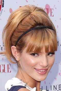 20 Pretty Hairstyles With Headbands pony, bump, bangs, headband and some girlie sass